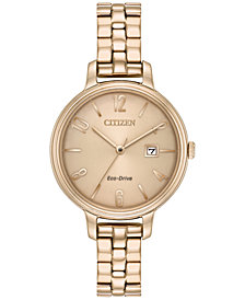 Citizen Eco-Drive Women's Silhouette Rose Gold-Tone Stainless Steel Bracelet Watch 31mm EW2443-55X