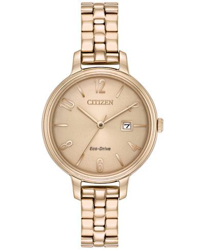 Citizen Eco-Drive Women's Silhouette Rose Gold-Tone Stainless Steel Bracelet Watch 31mm EW2443-55X