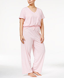 Nautica Plus Size V-Neck T-Shirt & Pajama Pants Sleep Separates
