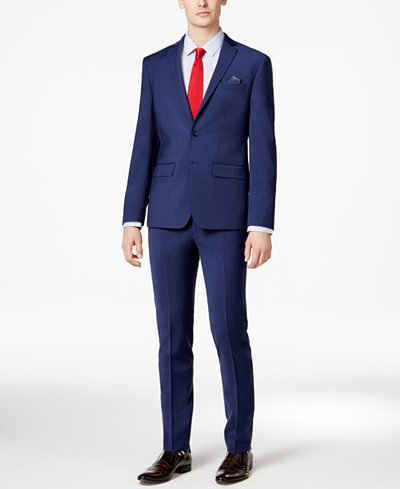 Bar III Men's Skinny Fit Stretch Wrinkle-Resistant Blue Suit Separates, Created for Macy's