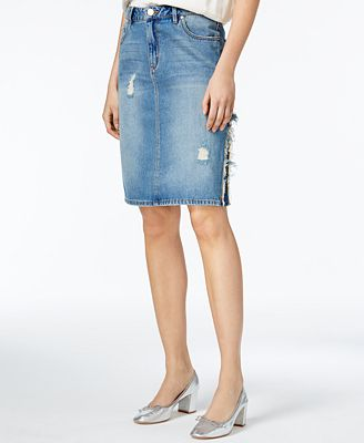 RACHEL Rachel Roy Ripped Cotton Denim Skirt, Only at Macy's ...