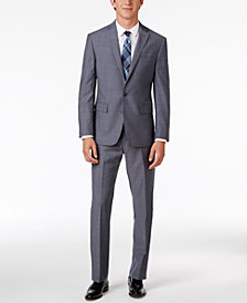 Ryan Seacrest Distinction™ Men's Slim-Fit Gray/Blue Double Stripe Suit Separates, Created for Macy's