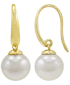 Majorica Pearl Earrings, 18k Gold over Sterling Silver Organic Man Made Pearl Drops