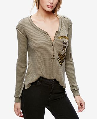 Free People Bridget Cotton Embroidered Henley