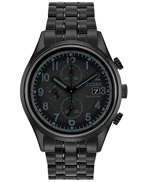 Citizen Men's Eco-Drive Chronograph Black Stainless Steel Bracelet Watch 42mm CA0625-55E
