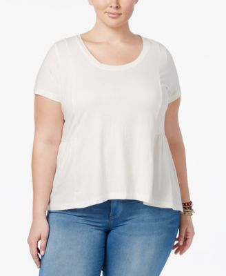 American Rag Trendy Plus Size Cotton Peplum T-Shirt, Only at Macy's