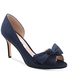Nina Forbes 2 Bow Peep-Toe D'Orsay Evening Pumps