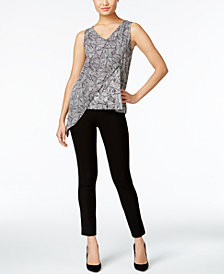 Cable & Gauge Asymmetrical Top & ECI Pull-On Straight-Leg Pants