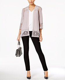 NY Collection Lace-Trim Cardigan, Grace Elements Asymmetrical Top & ECI Skinny Pants