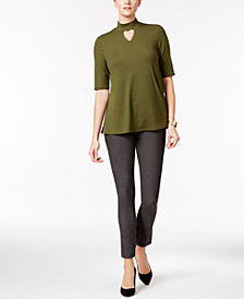 NY Collection Mock-Neck Swing Top & ECI Pull-On Pants