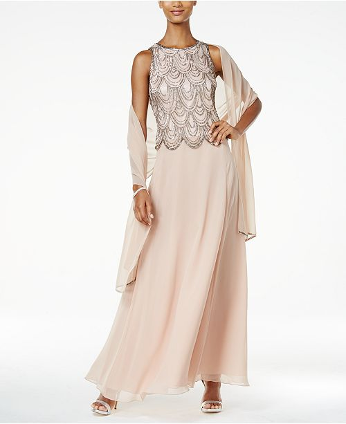 J Kara Embellished A Line Gown And Scarf Dresses Women Macys