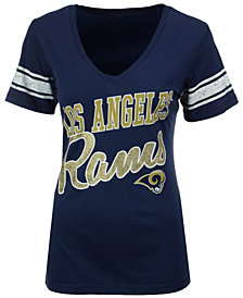 G-III Sports Women's Los Angeles Rams Glitter Sleeve Stripe T-Shirt