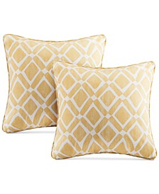 "Delray Diamond-Print 20"" Square Pair of Decorative Pillows"