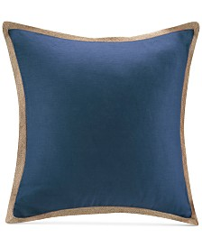 "Madison Park 20"" Square Linen with Jute Trim Decorative Pillow"
