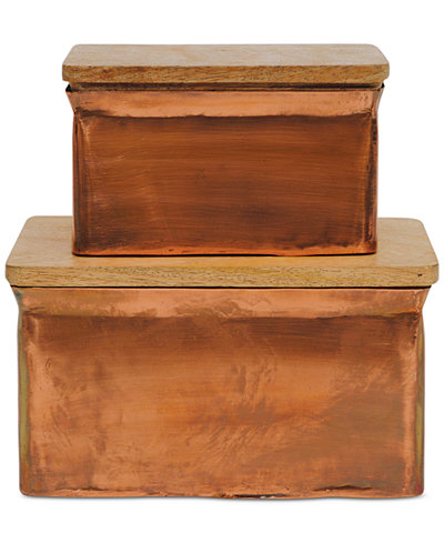 Aluminum Boxes with Wood Lids, Set of 2