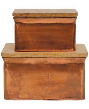 Image of Aluminum Boxes with Wood Lids, Set of 2