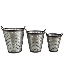 Iron Olive Buckets with Handles, Set of 3