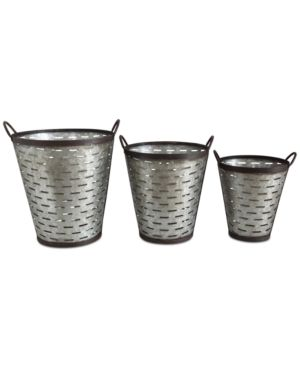 Iron Olive Buckets with Handles, Set of 3 4502363