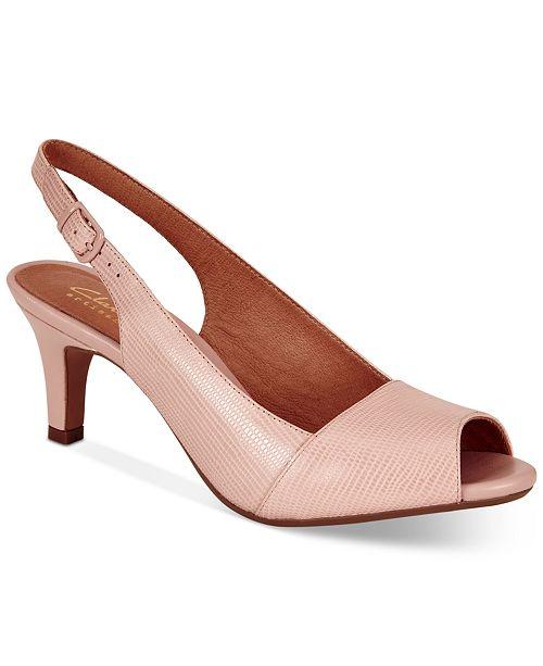 Clarks Women's Heavenly Leah Slingblack Peep Toe Pumps
