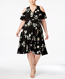 Soprano Trendy Plus Size Floral-Print Cold-Shoulder Dress