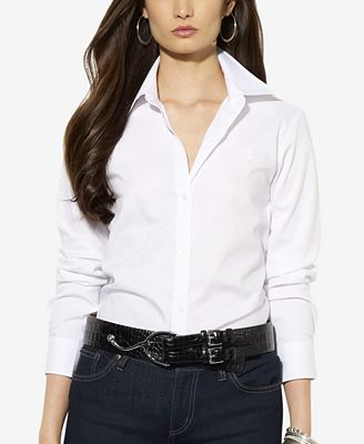 Simple Lauren By Ralph Lauren Longsleeve Embroidered Standcollar Blouse In White | Lyst