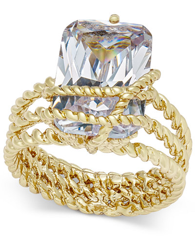 Charter Club Gold-Tone Cubic Zirconia Wrap Ring, Created for Macy's