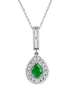 Emerald (9/10 ct. t.w.) and Diamond (5/8 ct. t.w.) Pendant Necklace in 14k White Gold