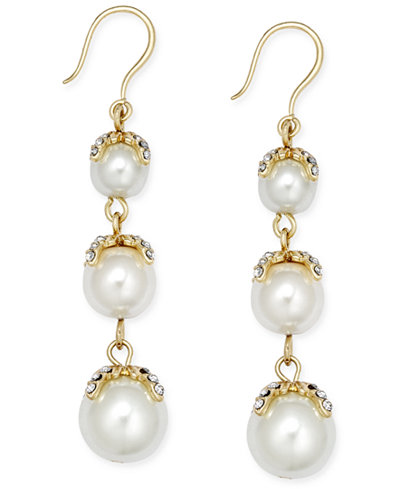 Charter Club Gold-Tone Imitation Pearl Linear Earrings, Created for Macy's