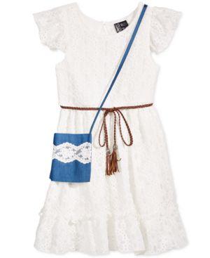 Pink & Violet Belted Lace Dress & Purse, Toddler & Little Girls (2T-6X) 4431049