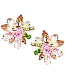 Gold-Tone Multi-Crystal Flower Stud Earrings