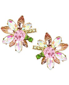 Betsey Johnson Gold-Tone Multi-Crystal Flower Stud Earrings