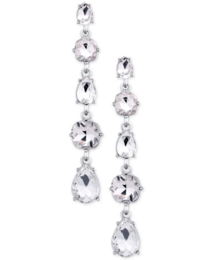Say Yes to the Prom Silver-Tone Crystal Linear Earrings, a Macy's Exclusive Style