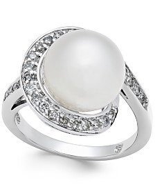 Cultured South Sea Pearl (11mm) and Diamond (3/8 ct. t.w.) Ring in 14k White Gold