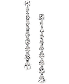 Nina Silver-Tone Graduated Cubic Zirconia Earrings