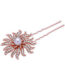 Nina Rose Gold-Tone Pavé & Imitation Pearl Celestial Hair Pin