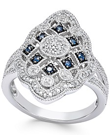 Sapphire (1/7 ct. t.w.) and Diamond (1/7 ct. t.w.) Ring in Sterling Silver