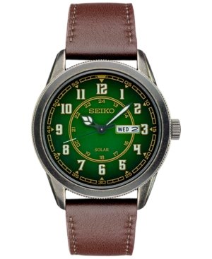 Seiko Men's Recraft Solar Brown Leather Strap Watch 43mm SNE