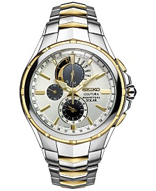 Seiko Men's Coutura Perpetual Chronograph Solar Two-Tone Stainless Steel Bracelet Watch 44mm SSC560