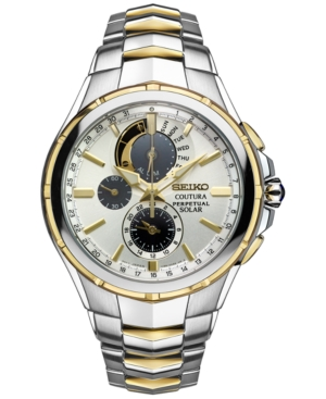 Seiko Men's Courtura Perpetual Chronograph Solar Two-Tone St