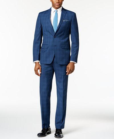 Sean John Men's Slim-Fit Navy Plaid Suit Separates - Suits & Suit ...