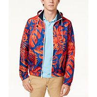 Tommy Hilfiger Mens Floral Hooded Windbreaker (Sodalite Blue)