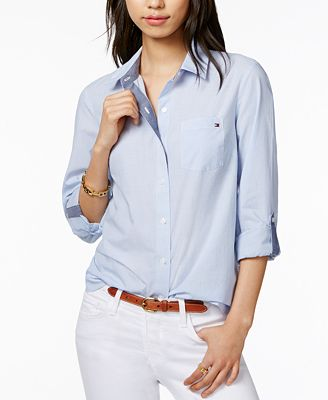 Tommy Hilfiger Cotton Pinstripe Shirt Created For Macy S Tops