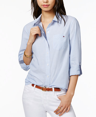 Tommy Hilfiger Cotton Pinstripe Shirt, Created for Macy's - Tops ...