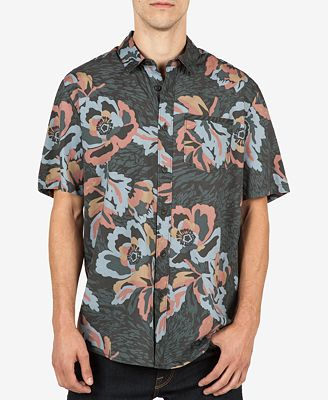 Volcom Men's Cubano Floral-Print Cotton Pocket Shirt - Casual ...