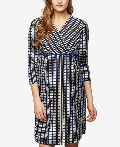 A Pea In The Pod Maternity Printed Wrap Dress