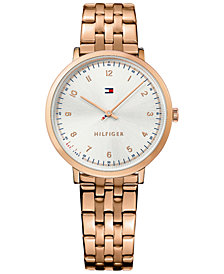 Tommy Hilfiger Women's Casual Sport Rose Gold-Tone Stainless Steel Bracelet Watch 35mm 1781760