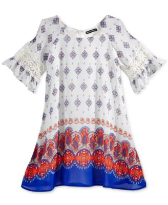 Image of Sequin Hearts Geometric Print Dress, Big Girls (7-16)