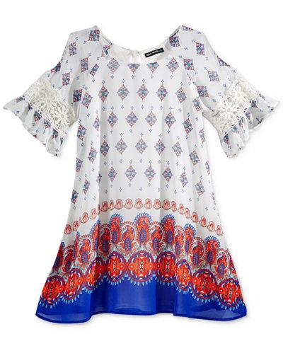 Sequin Hearts Geometric Print Dress, Big Girls (7-16)