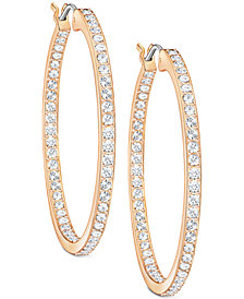 "Swarovski Rose Gold-Tone Pavé 1-3/8"" Hoop Earrings"