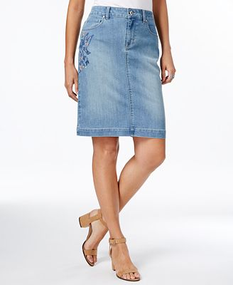 style co embroidered denim skirt only at macy s
